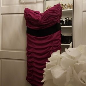 Rouched magenta dress